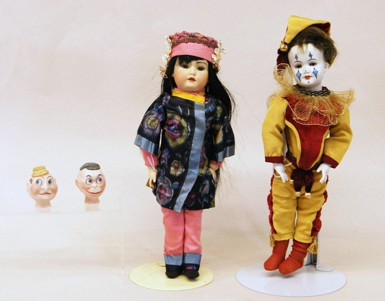 Group of (2) Artist Dolls and (2) Heads