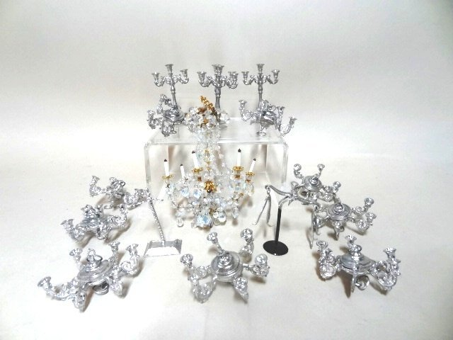 Dollhouse Miniature Pewter Chandelier, Candelabras and