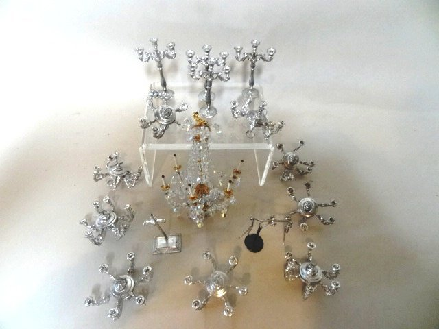 Dollhouse Miniature Pewter Chandelier, Candelabras and - 2