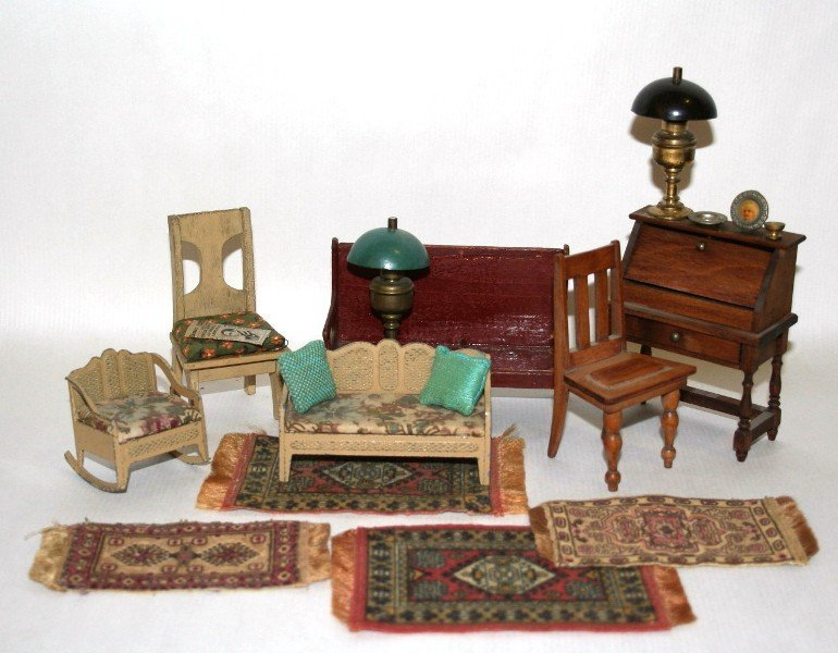 Lot of Vintage Dollhouse Miniature  Furniture
