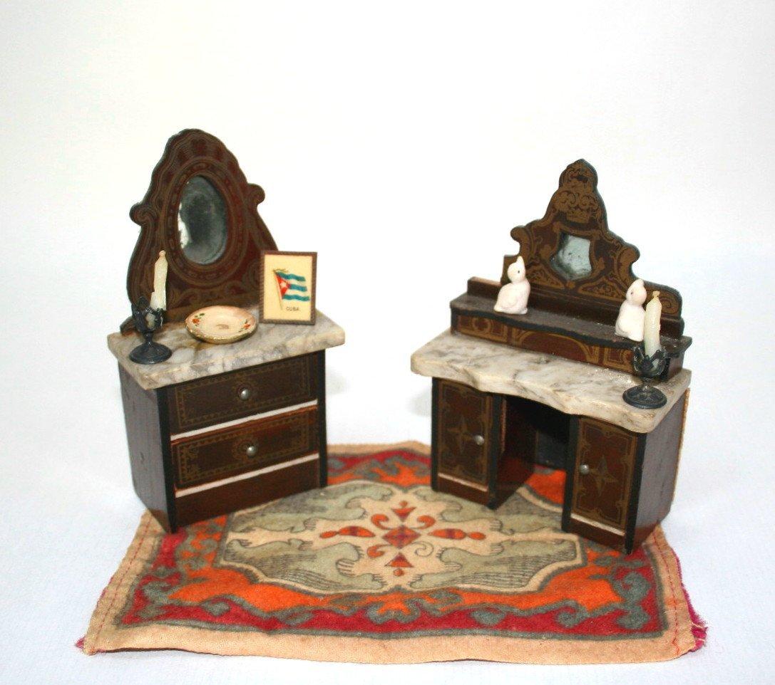 Small Boulle Dollhouse Miniature Furniture