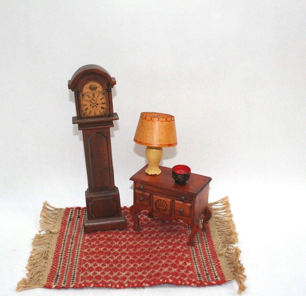 Dollhouse Miniature Tynietoy Clock and Lowboy
