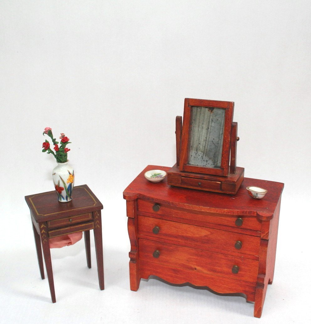 Dollhouse Miniature Tynietoy Sewing Table and Chest