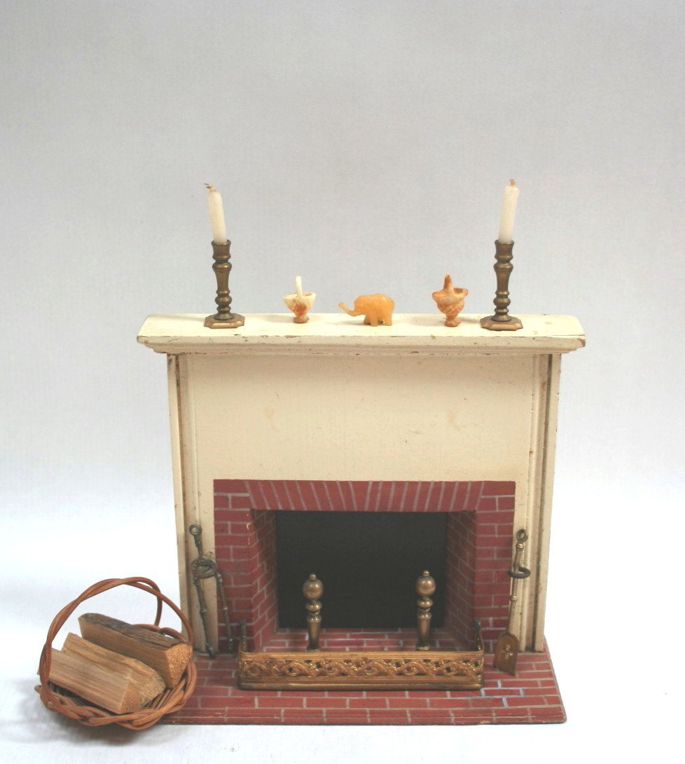 Dollhouse Miniature Tynietoy Fireplace and Accessories
