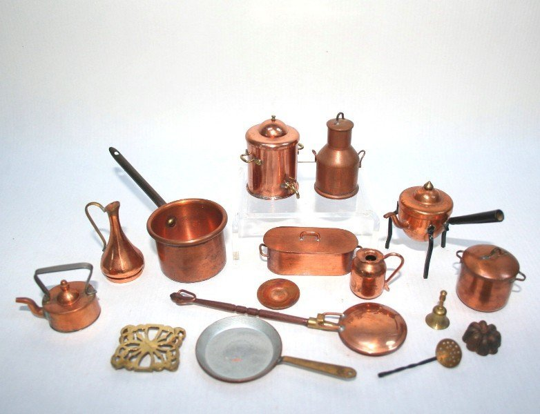 Dollhouse Miniature Vintage Copper and Brass