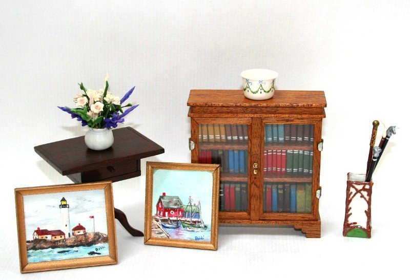 Artisan Bookcase and Porcelain