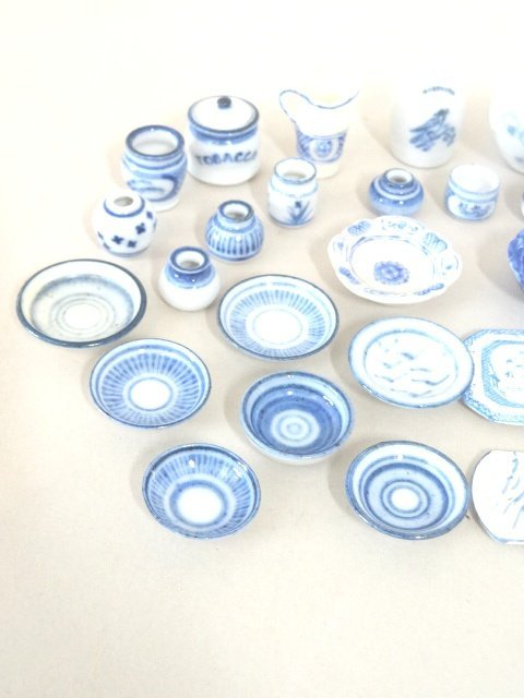 Dollhouse Miniature Blue & White Dishes - 2