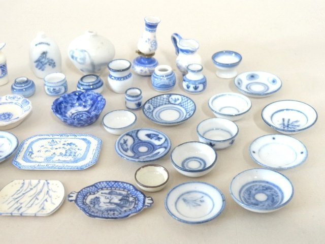 Dollhouse Miniature Blue & White Dishes - 3