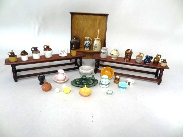Dollhouse Miniature Country Crocks  and Furniture
