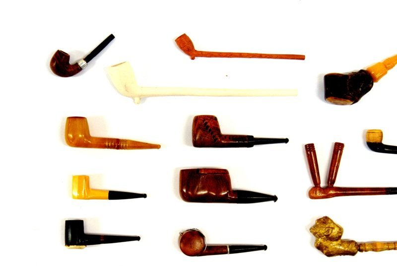 Rare Miniature Meerschaum Exotic Wood Pipes - 3