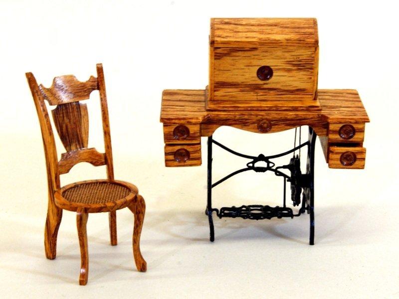 Dollhouse Miniature Sewing Machine by Zach Fox w/Chair