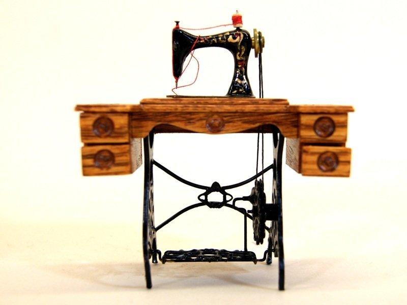 Dollhouse Miniature Sewing Machine by Zach Fox w/Chair - 2