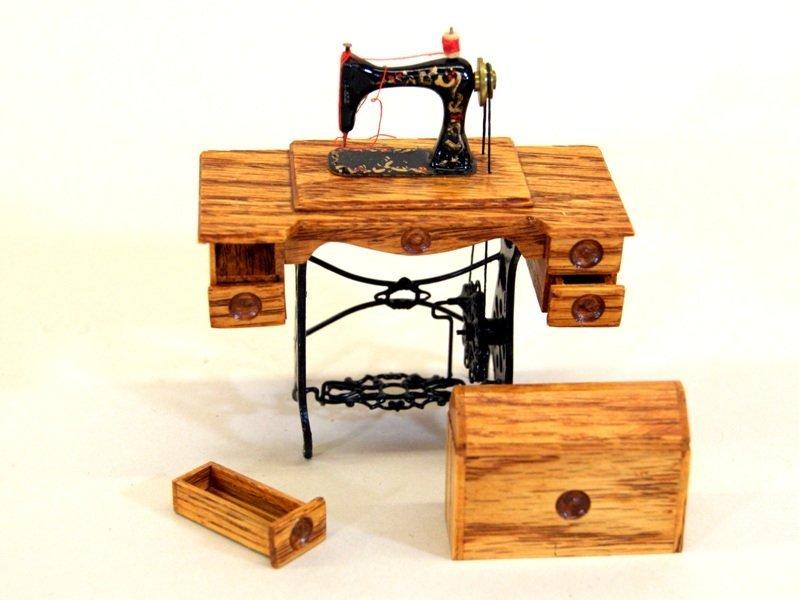 Dollhouse Miniature Sewing Machine by Zach Fox w/Chair - 3