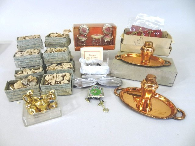 Old Store Stock Tea Sets, Copper and German Pupppen