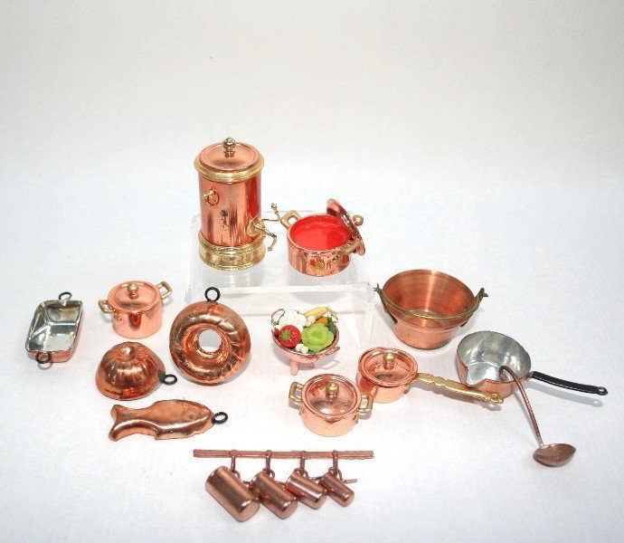 Dollhouse Miniature Copper Cookware