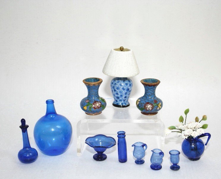 Dollhouse Miniature Blue Glass and Cloisonn'