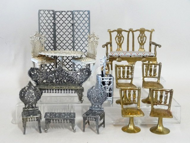 Dollhouse Miniature Brass and Pewter Furniture