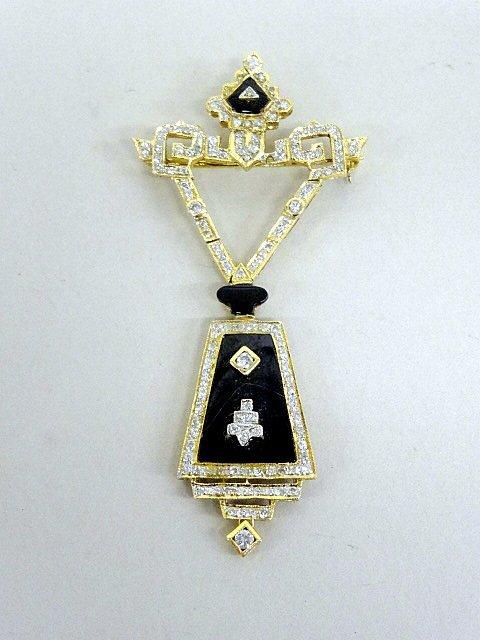 14Kt Diamond & Onyx Pin