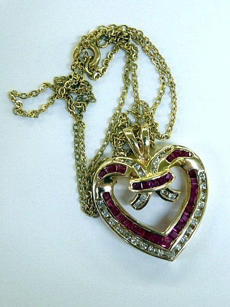 14Kt Diamond and Ruby Heart Necklace