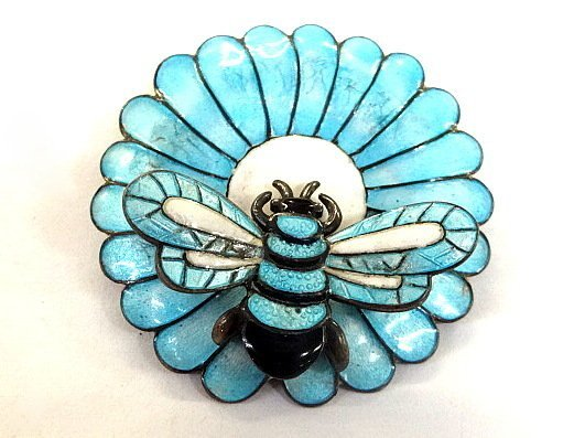 Sterling Enamel Bee and Flower Pin