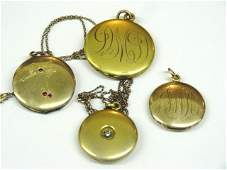 Four Vintage Gold Filled Lockets