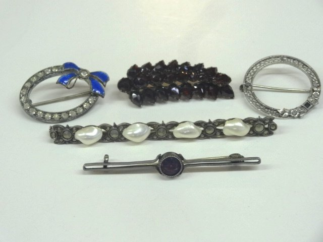 Garnet PIn and Costume Jewelry
