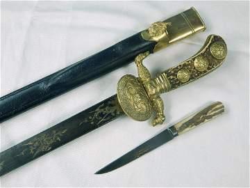 Antique German Germany 19 C Engraved Hunting Dagger