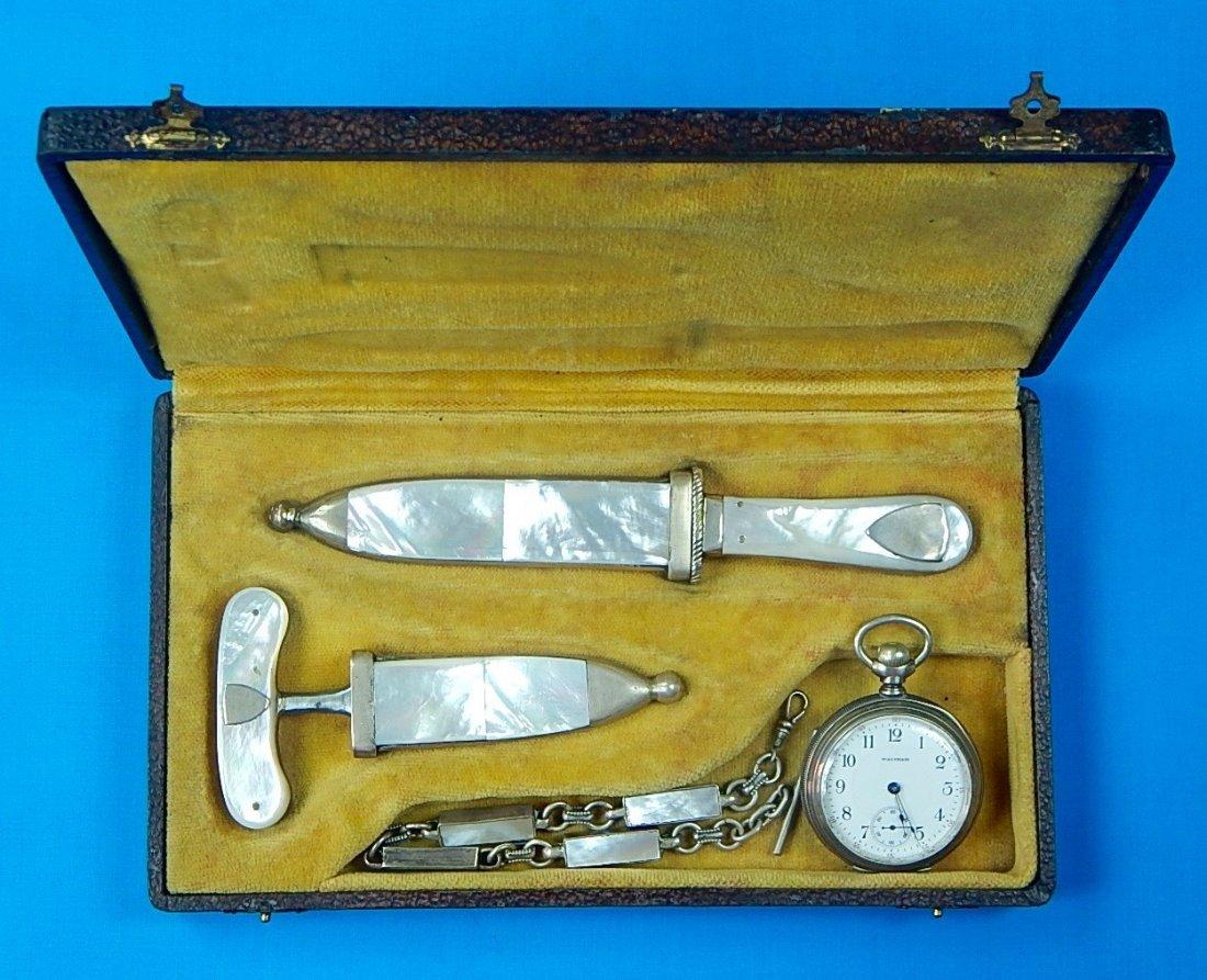 Gambling Set Will Finck Push Dagger Knife Waltham Watch