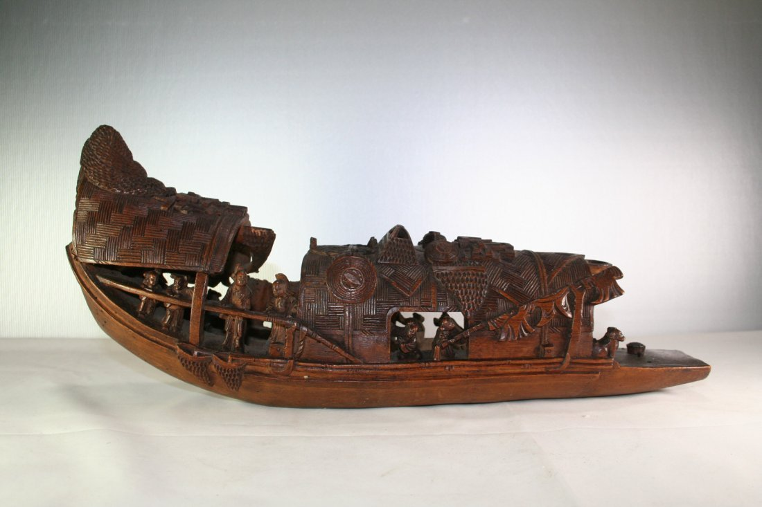 Chinese Bamboo Carved Boat
