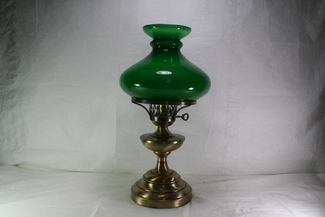 Brass and Green Glass Table Lamp