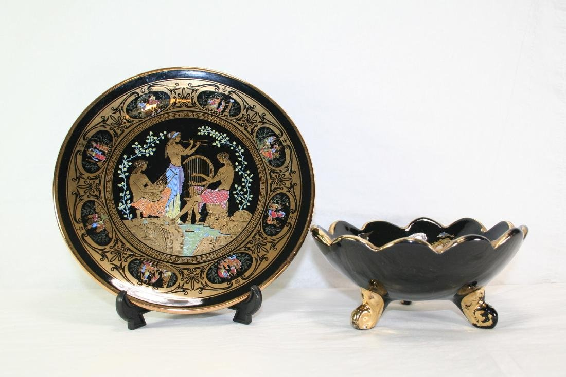 Group of Two Gold Painted Porcelain ware