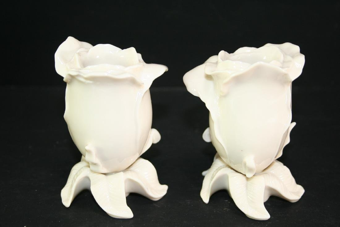 Pair of Lenox Rose Shaped Candle Holders