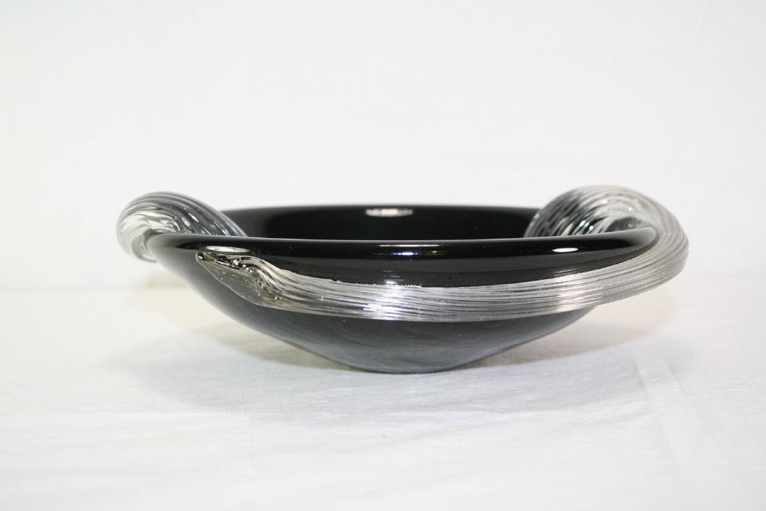 Black Glass Plate with Wave Design