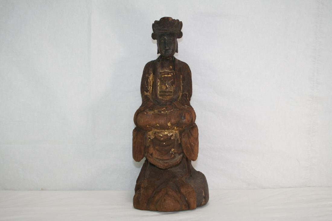 Chinese Lacquered Wood Buddha