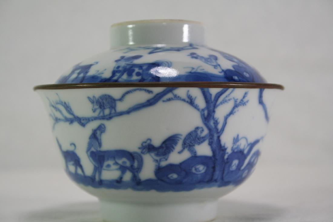 Chinese Blue and White Tea Cup and Cover