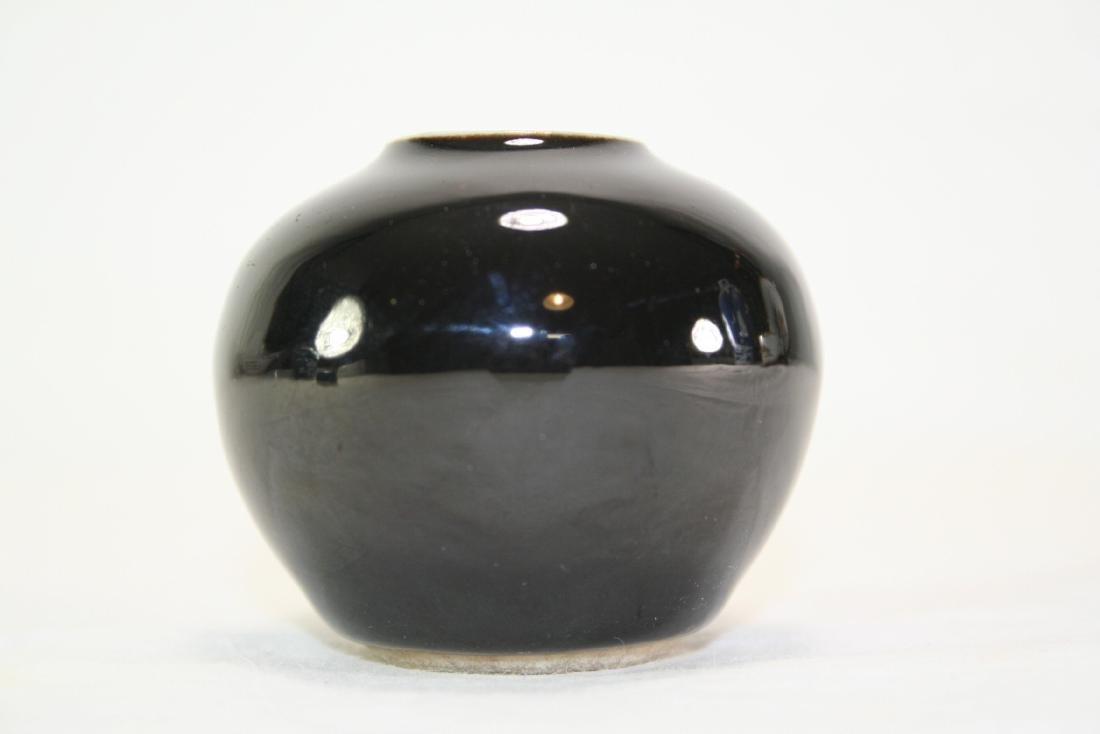 Black Mirror Glazed Porcelain Jar