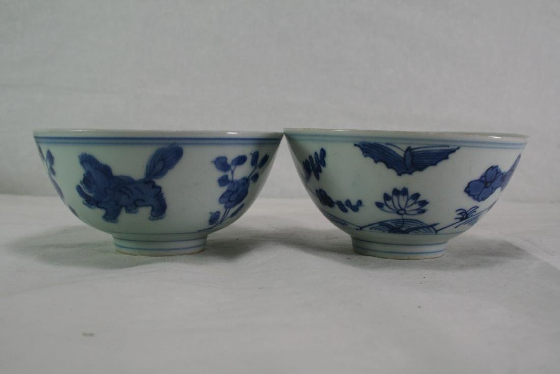 Group of Two Chinese Porcelain Blue and White Bowls