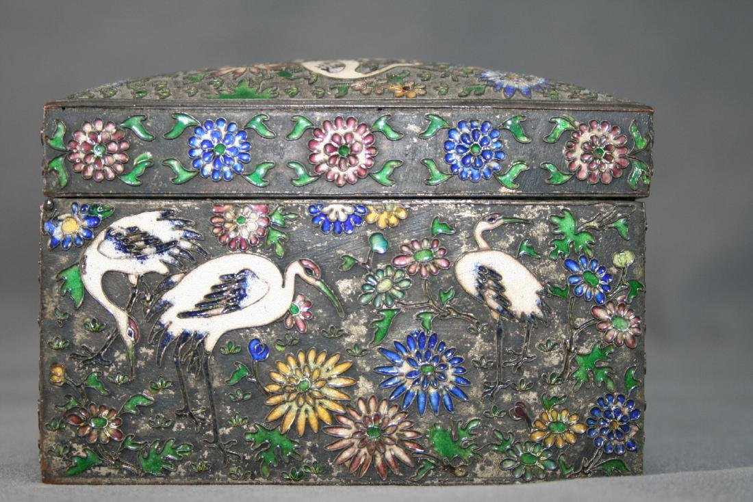 Chinese Enamel on Copper Box - 4