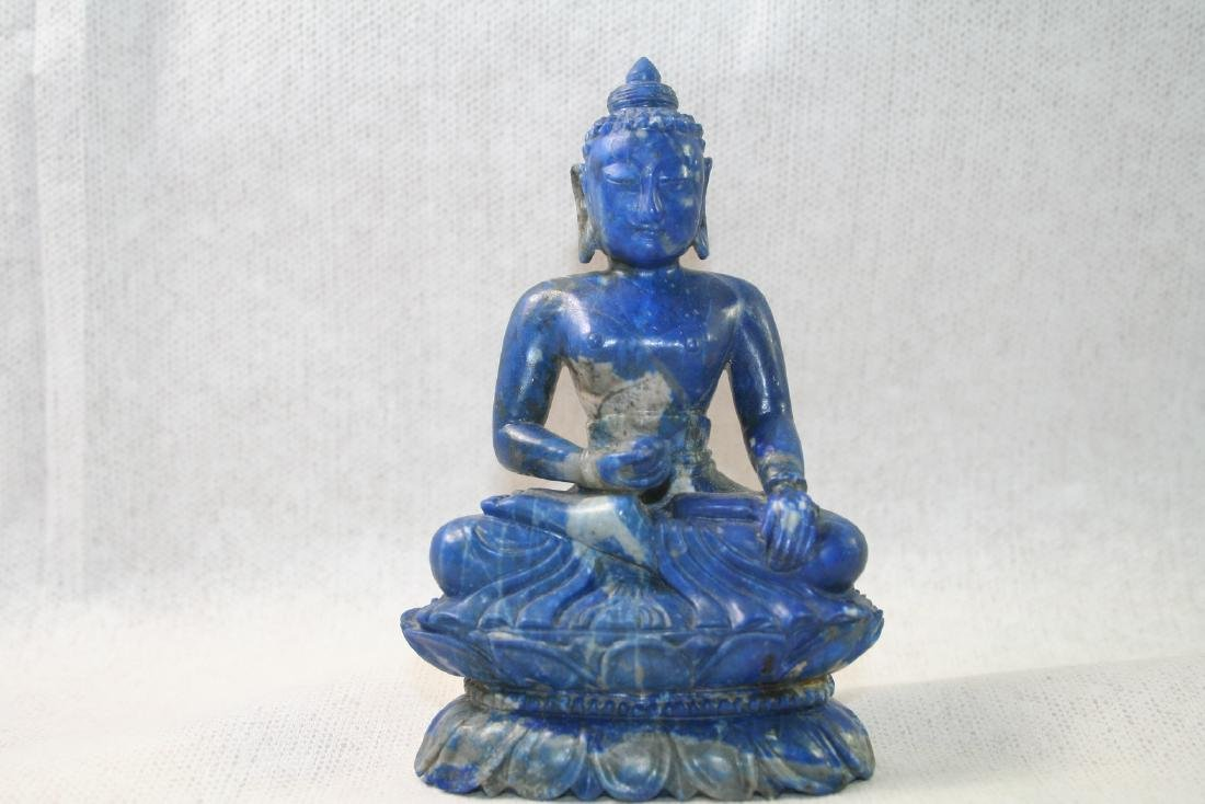 Asian Lapis Caved Buddha Statue