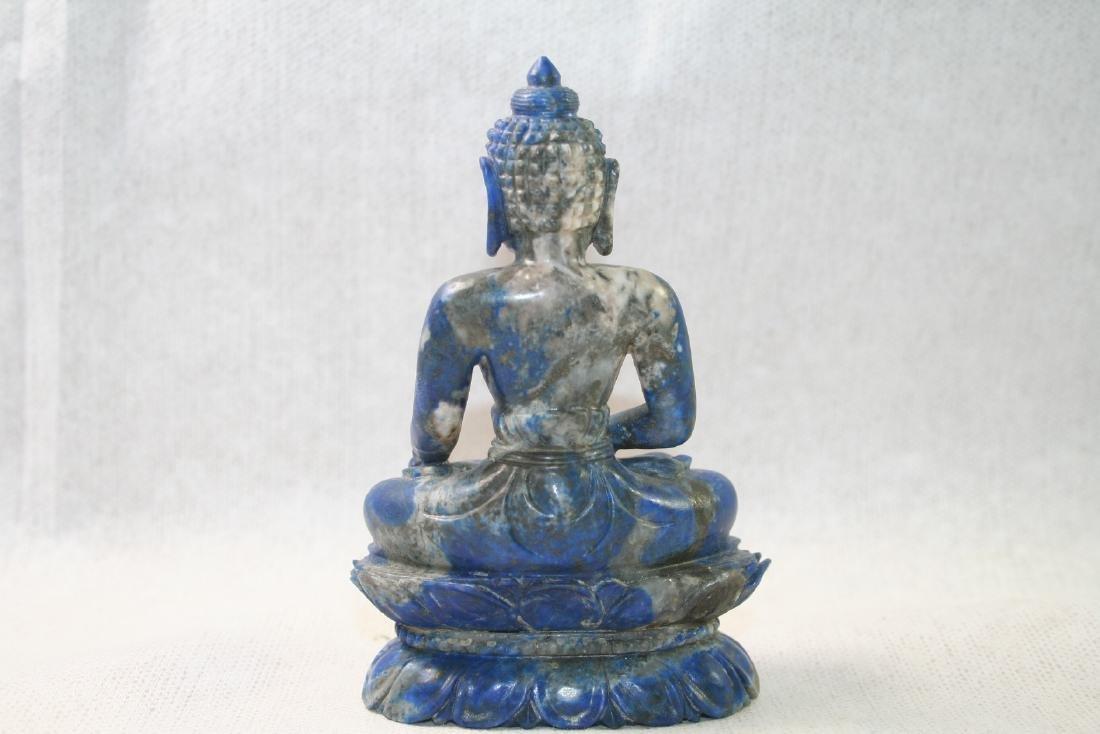 Asian Lapis Caved Buddha Statue - 3