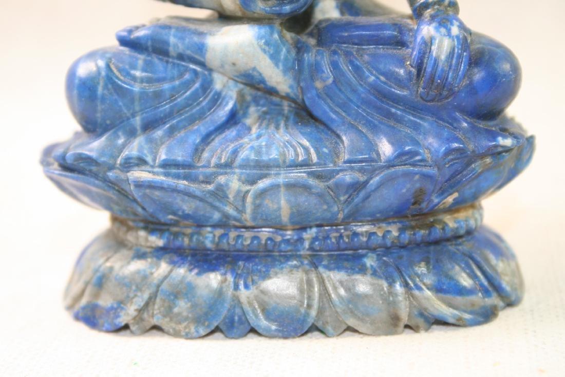 Asian Lapis Caved Buddha Statue - 8