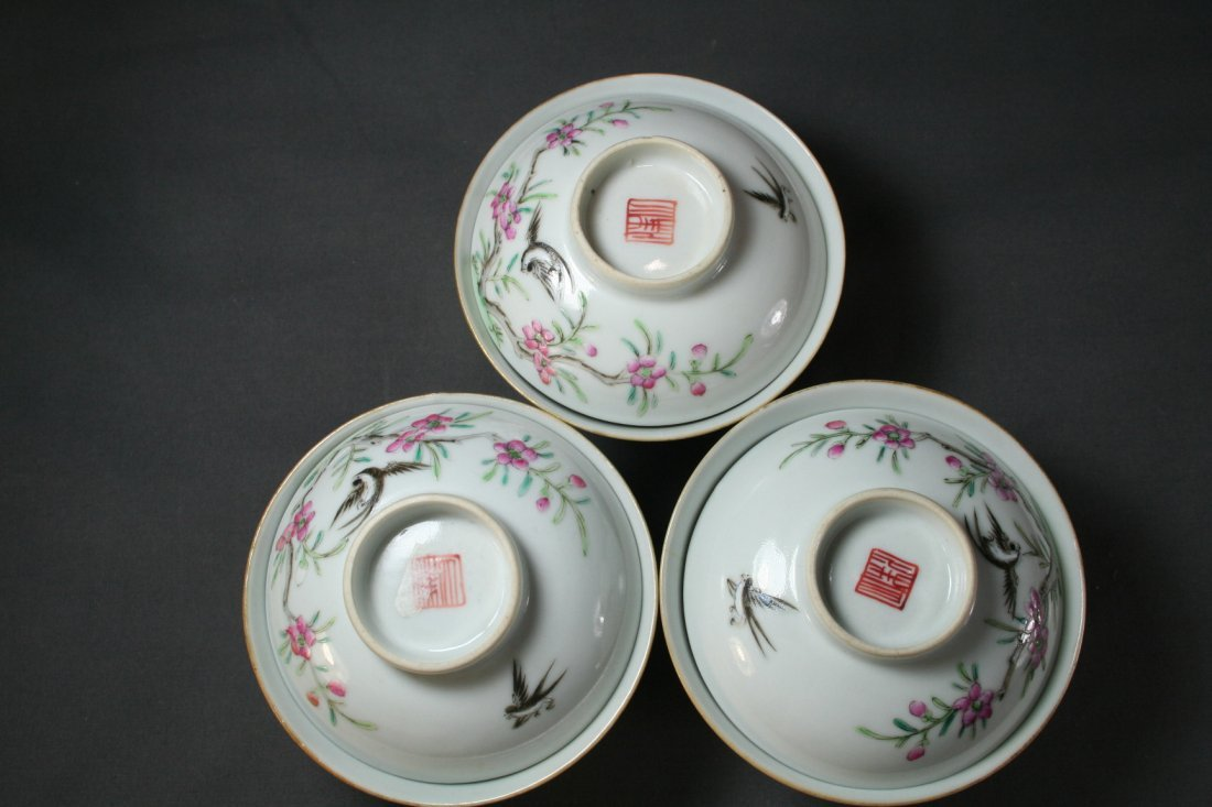 Group of Three Famille Rose Tea Cups - 10