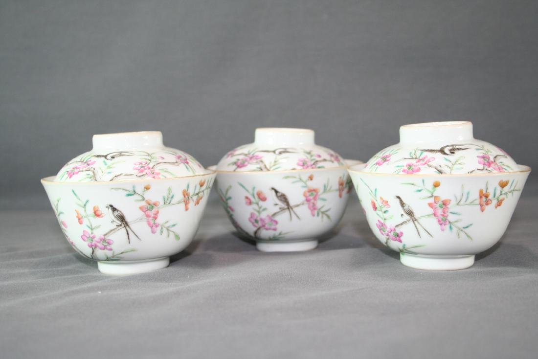 Group of Three Famille Rose Tea Cups