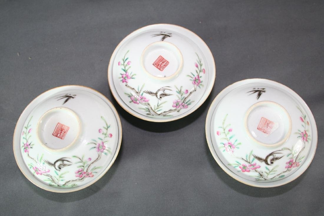 Group of Three Famille Rose Tea Cups - 2