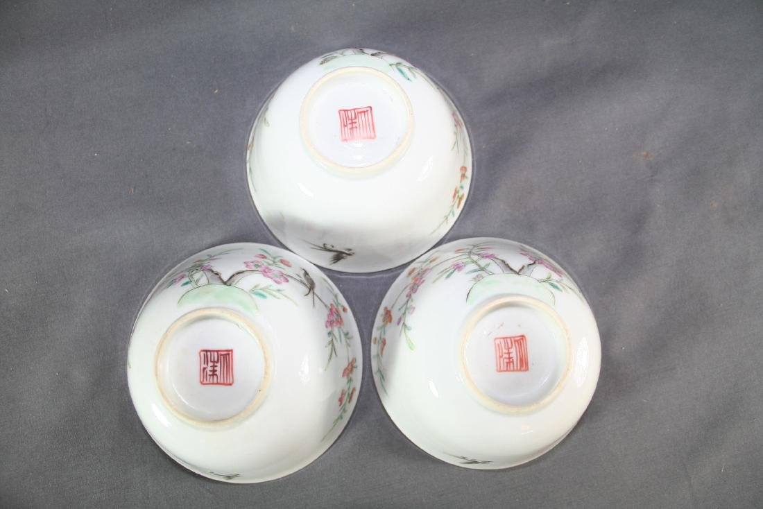 Group of Three Famille Rose Tea Cups - 7