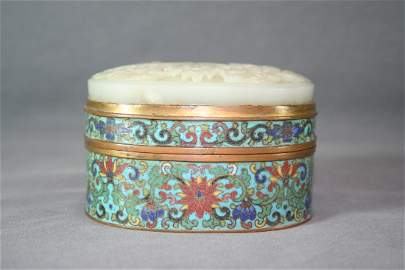 Chinese Cloisonne Box Inlaid with Jade
