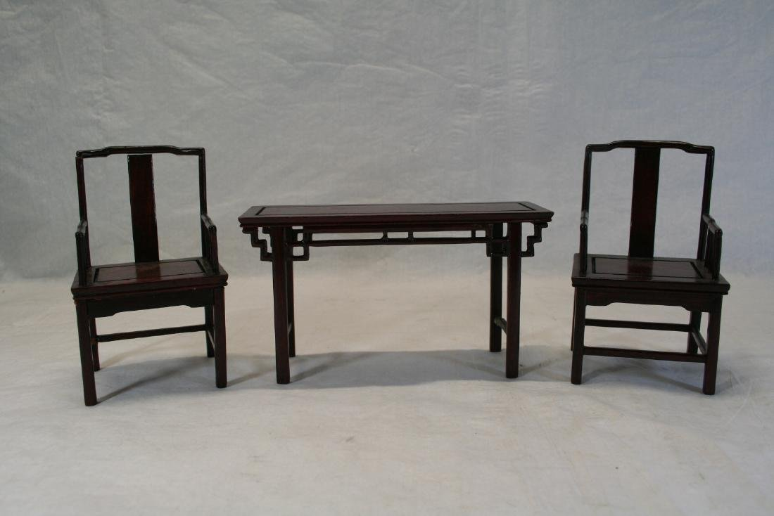 Set of Three Miniature of Chinese Table and Armchairs