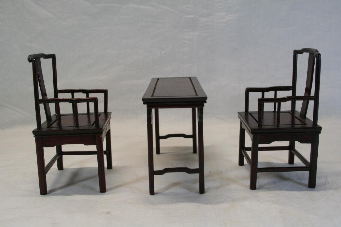 Set of Three Miniature of Chinese Table and Armchairs - 2