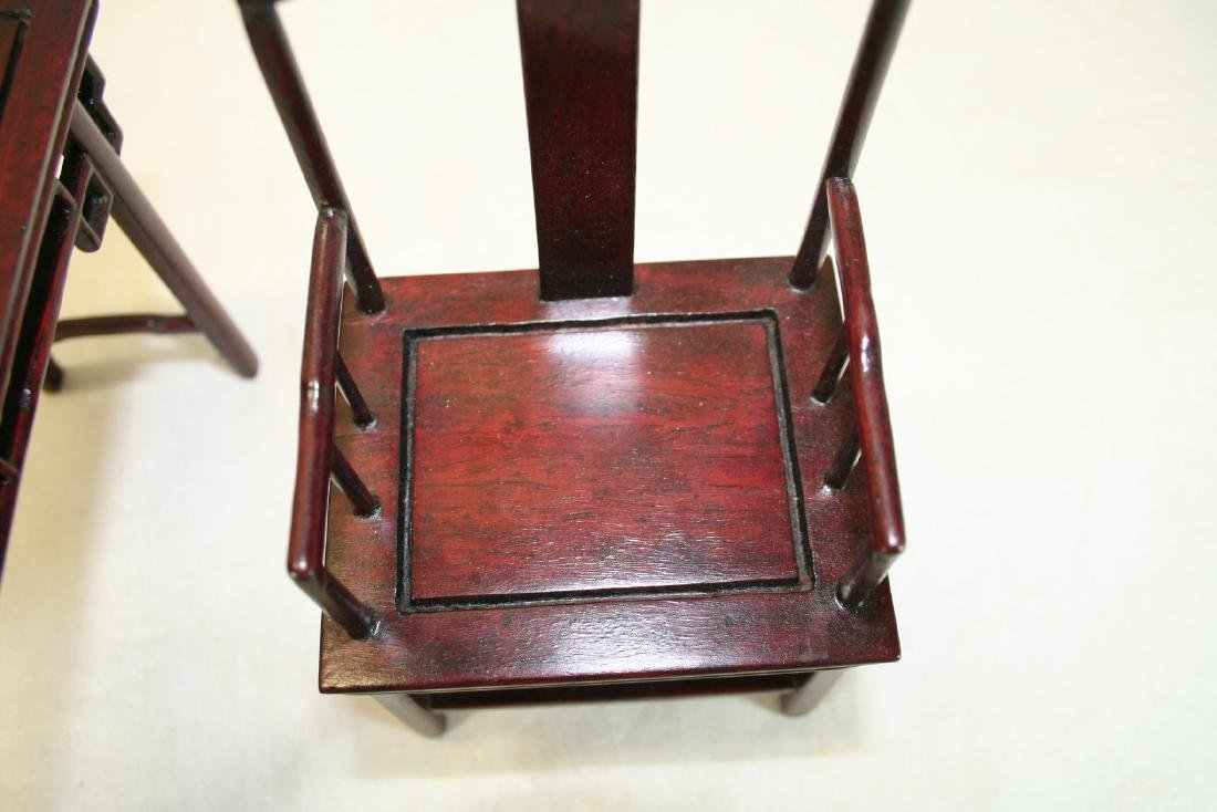 Set of Three Miniature of Chinese Table and Armchairs - 5