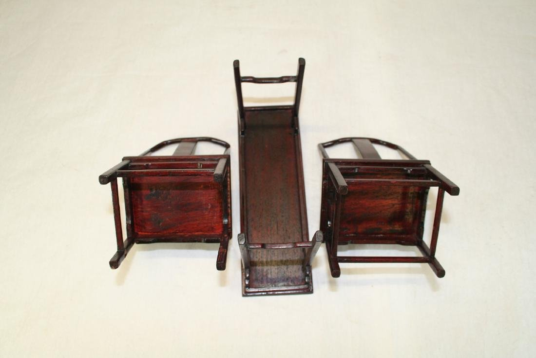 Set of Three Miniature of Chinese Table and Armchairs - 7